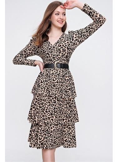 Butikburuç Kadın Çiçek Krep Volanlı Elbise Leopar